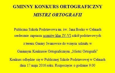 """Gminny Konkurs Ortograficzny ,,Mistrz Ortografii"""" w Szkole Podstawowej w Celinach"""