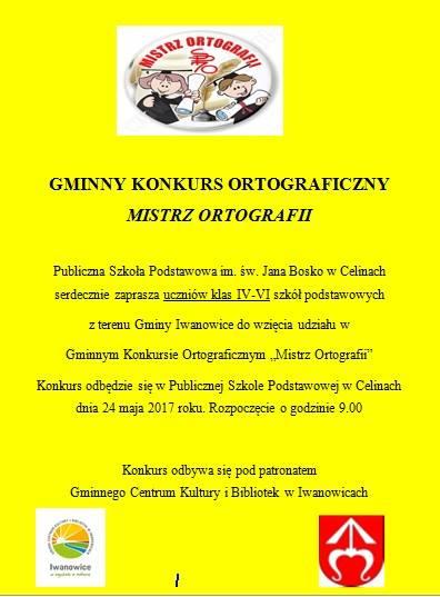 """Gminny Konkurs Ortograficzny """"Mistrz Ortografii"""""""
