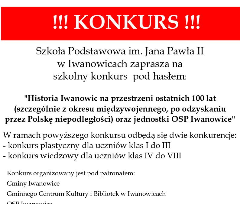 """Wyniki konkursu szkolnego """"Historia Iwanowic na przestrzeni ostatnich 100 lat oraz jednostki OSP w Iwanowicach"""""""