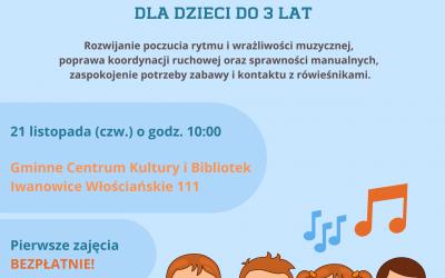 Zajęcia muzyczno – rytmiczne dla dzieci do 3 roku życia!!!