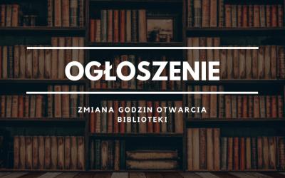 Zmiana godzin pracy Biblioteki w Iwanowicach!!!