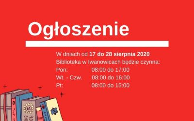 Zmiany godzin otwarcia biblioteki w Iwanowicach.
