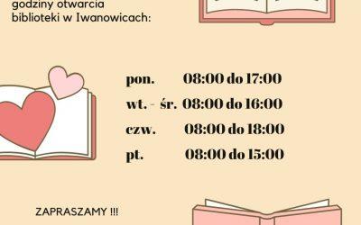 Zmiana godzin pracy biblioteki w Iwanowicach.