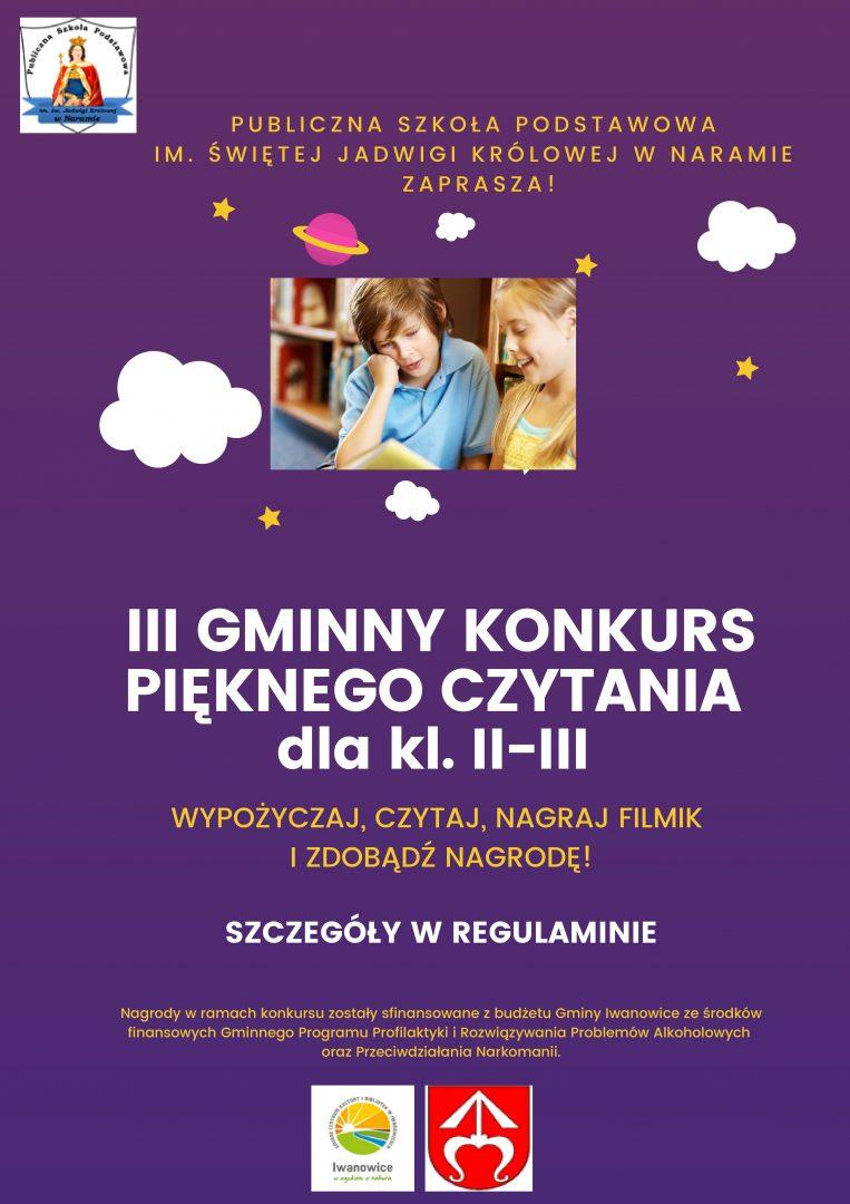 Plakat informacyjny III Gminny Konkurs Pięknego Czytania